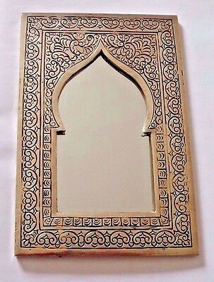 Hand Crafted* MOROCCAN ENGRAVED SILVER COLOUR POINTED ARCHED  MIRROR 22cm x 14cm