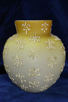 Antique Vintage Victorian Yellow Satin Coralene Art Glass Vase Mt Washington