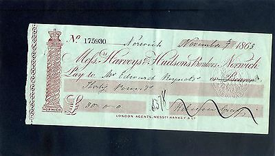 Mssrs Harveys & Hudsons Bankers Bank  Cheque 1863 - Norwich