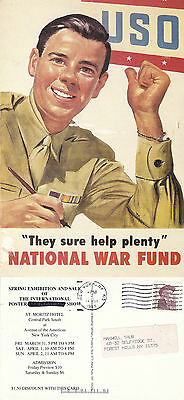 Us National War Fund Advertising Colour Postcard