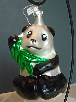 """Panda Bear Glass Christmas Ornament Made in Germany NWT! 4"""", orig from Fortunoff"""