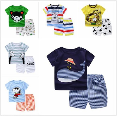 Summer 2pcs Kids baby boys short sleeve top T-shirt+ Shorts Pants outfit