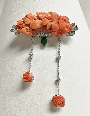 18K White Gold Coral, Jade, & Diamond Brooch