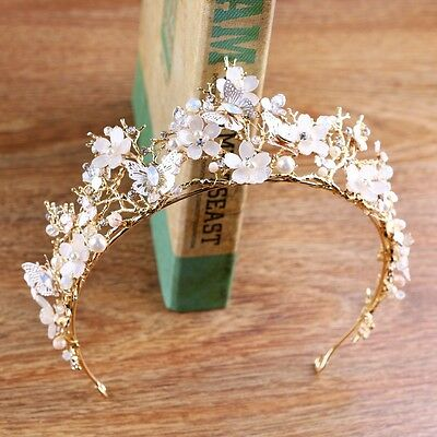 Lovely Pink Butterfly Flower Pearl Crystal Adult Big Tiara Crown Pageant Prom