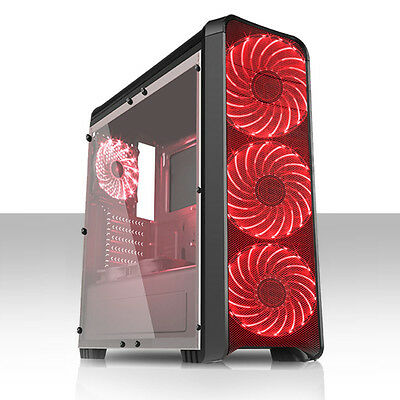 Fierce PC Rift Black ATX Gaming Case with Red LED Fans