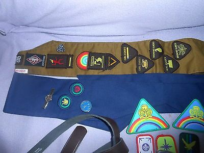 Vintage 1980's Brownies & Girl Guides Sash With Badges & Brownie Pouch Belt
