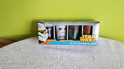 Star Wars Set Of 4 Character  Mini Shot Glasses New Boxed