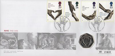 GB STAMPS FIRST DAY COVER FDC 1998 NHS EBBW VALE 50p COIN COVER