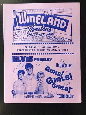 ORIGINAL Elvis Presley Girls! Girls! Girls! Movie Drive In Theatre Flyer