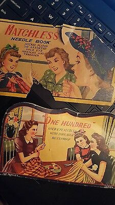 2  Antique, Vintage, Advertising,  Sewing  Needle Books ,old Needles,sewing