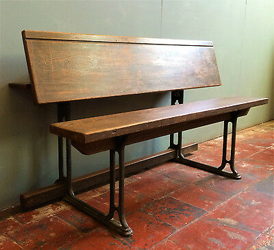 Antique Gothic Church Pew Bench, Rare Metamorphic Table, Victorian, Cast Iron.