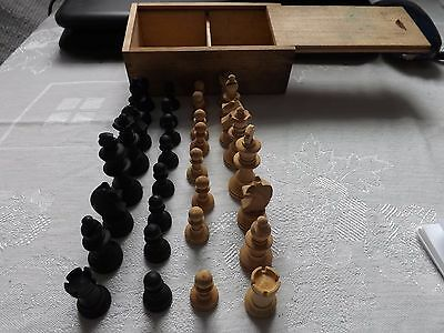 Vintage Complete Boxwood Wooden Chess Set (No Board) In Original Box