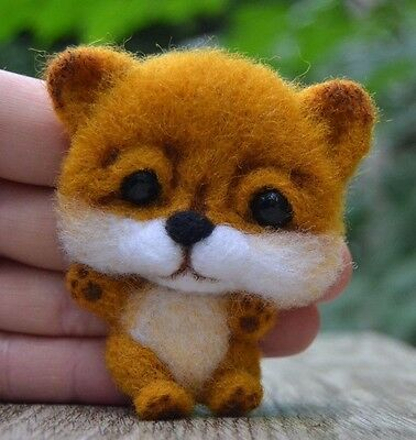 Handmade Brooch Fox Felted Wool Eco Friendly Handcrafted Toy 4in