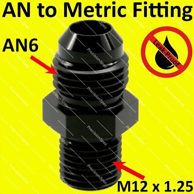AN6 6AN Aluminium Straight Male Flare to M12x1.25 Metric Fitting Adapter - Black