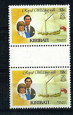 KIRIBATI 1981 ROYAL WEDDING 12c VALUE IN GUTTER PAIR ex BOOKLET MNH