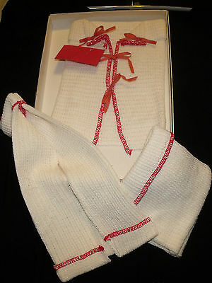 Vintage Infant Layette Set Waffle Weave Red and White 3pc Outfit Unisex NEW