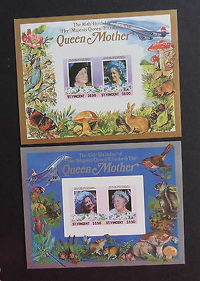 St Vincent 1985 Queen Mother's 85th Birthday IMPERF MS sheets fungi bird MNH UM