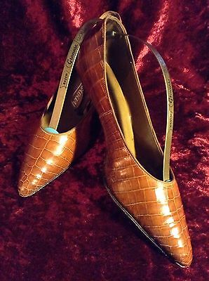 Vintage High Heels Bata Queensway Crocodile Leather Shoe Keepers Size 38 7 - 7.5