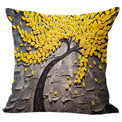 Fashion Cotton and linen Square Pillow cases Gray + yellow flowers C4C8