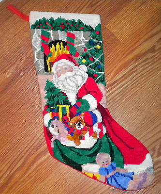 Christmas Stocking Red Needlepoint Embroided Red Santa Claus