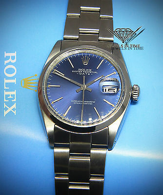 Rolex Date Vintage Stainless Steel Blue Dial Automatic Mens Watch 1500