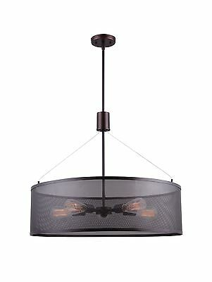 Canarm Acton 5 Light Rod Chandelier with Mesh Shade - Oil Rubbed Bronze Finish