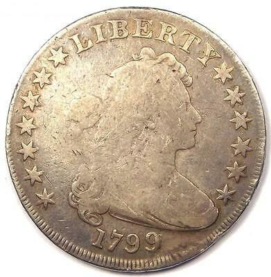 1799 Draped Bust Silver Dollar $1 - Good Details - Rare Type Coin!