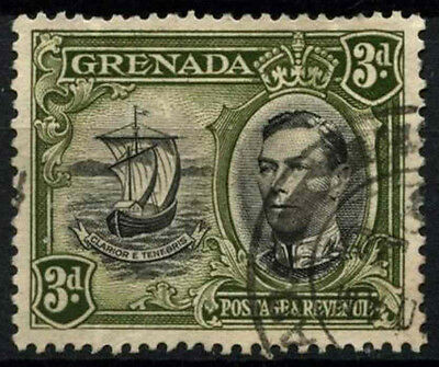 Grenada 1938-50 SG#158a 3d Black & Olive Green KGVI P13.5x12.5 Used #D52144