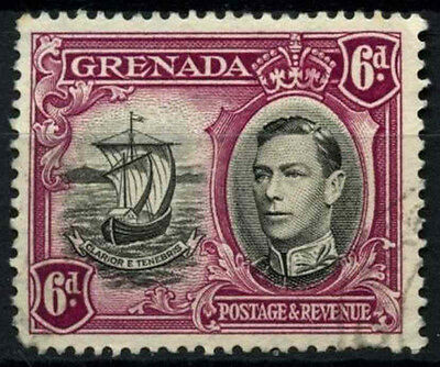 Grenada 1938-50 SG#159a, 6d Black & Purple KGVI P13.5xP12.5 Used #D52130