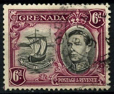 Grenada 1938-50 SG#159a, 6d Black & Purple KGVI P13.5xP12.5 Used #D52132