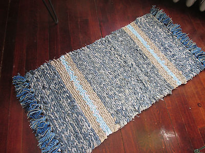 "Handmade Crocheted Crochet Rag Rug 36"" X 17"" eco friendly cotton denim unique"