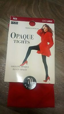 marks & Spencer St michael vintage/retro Opaque tights large red BNWT