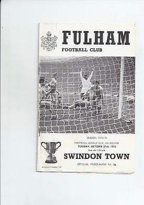 Fulham v Swindon Town League Cup Football Programme 1970/71