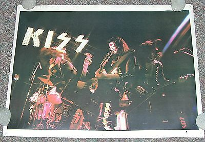 Kiss Poster- Vintage 70's Live - 23x18- Frehley, Simmons,Criss,Stanley - Rare
