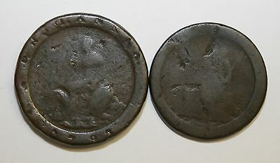 1797 Cartwheel Twopence & Penny Both In Worn Condition