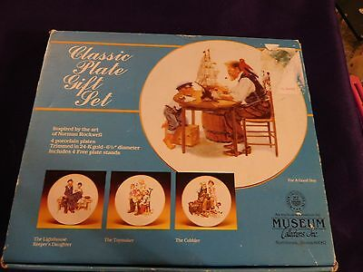 """Plate Decor Museum Collections Norman Rockwell Set of 4 6 1/2"""" Plates w/stands"""