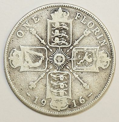 1916 George V Sterling Silver Florin Fine Condition