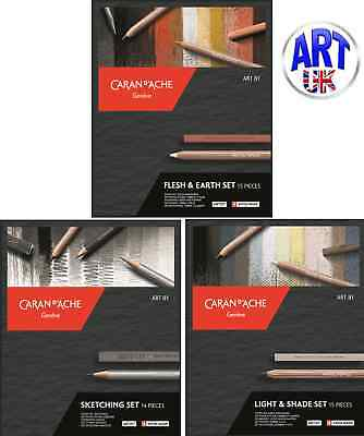 ART BY CARAN D'ACHE SETS Grafwood/stone/cube Technalo Charcoal Graphite Pencils