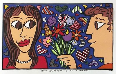"James Rizzi ""BUY YOUR GAL SOME FLOWERS"" 3D - RIESIG -numeriert, handsigniert!"