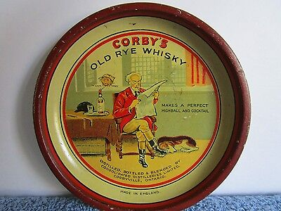 Vintage Tip Tray Advertising Corby's Old Rye Whiskey - Corbyville, Ontario