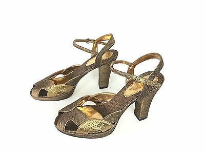 1940s 40s gold bronze shoes brown shoes size 7.5 or 8 pinup sandal NEW w/o box