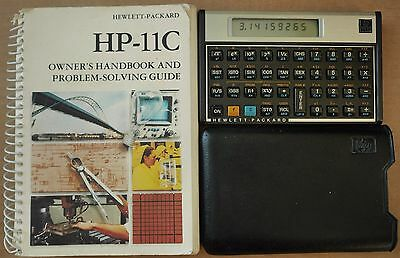Vintage HP 11C Scientific RPN Calculator w/ Case &Programming Manual-Works Great