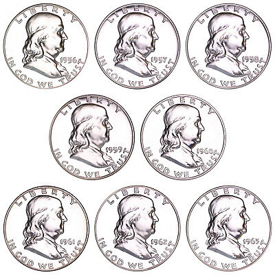 1956-1963 Franklin Proof Half Dollar Run 8 Coin Set 90% Silver US Coins