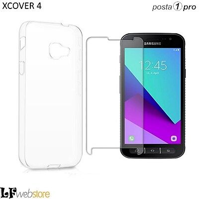PELLICOLA IN VETRO per SAMSUNG GALAXY XCOVER 4 + COVER SOFT SLIM 0,3mm POSTA1