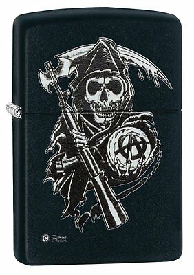 Zippo Sons of Anarchy Grim Reaper Pocket Lighter, Black Matte - NEW