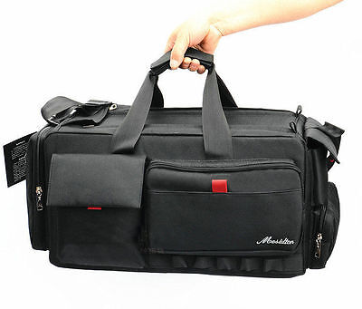 black VCR Video Camera Bag Shoulder Case for Nikon Canon Sony Large volume X