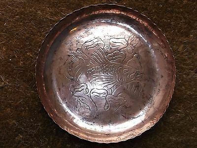 Newlyn Copper Water Lily Charger With Fish & Coral & Stamped Newlyn Mark