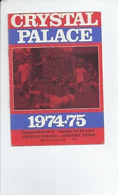 Crystal Palace v Grimsby Town Football Programme 1974/75