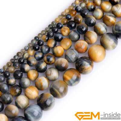 Natural AAA Grade Dream Lace Gold Blue Tiger's Eye Round Jewelry Making Beads