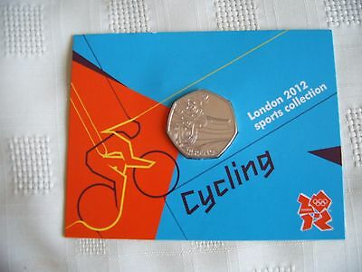 Olympic Games London 2012 Cycling 50p coin. sealed on card